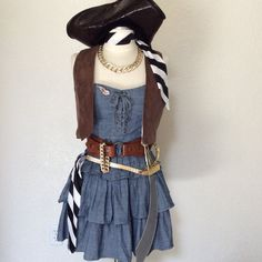 Women's Pirate Costume Gold Rush Outlaw by PassionFlowerVintage