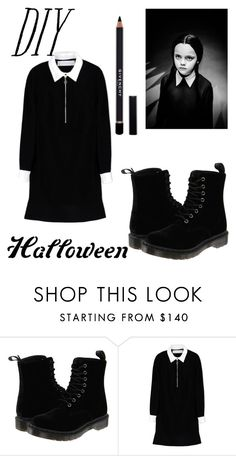 """""""Wednesday Adams"""" by marce104 ❤ liked on Polyvore featuring Dr. Martens, Victoria, Victoria Beckham, Givenchy, halloweencostume and DIYHalloween"""
