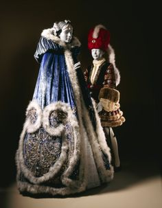 "Left: Costume for Ganna Walska as Manon Lescaut in ""Manon,"" Act III; Woman's Cape and Petticoat, by Erté (Romain de Tirtoff) and Redfern, 1920, at the LACMA"