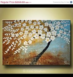 On Sale Abstract flower tree impasto painting thick by kagstudios, $155.40