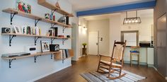 rustic shelves in living room design מדפרי ספרים בסלון כפרי Bookshelves In Living Room, Reading At Home, Rustic Interiors, Wooden Furniture, Interior Design Living Room, Rustic Decor, Architecture, Reading Areas, Table
