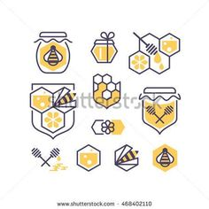 Set of line and color bee and honey icons. Vector symbols' collection.