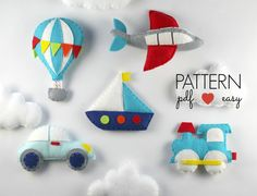 Transportation Pattern Set - Includes Car, Train, Airplane, Hot Air Balloon, Boat & Cloud the perfect baby mobile pattern. Create your own felt Car, Train, Plane, Hot Air Balloon, Boat & Cloud using my easy to follow, simple step by step instructions and patterns. Use for baby mobiles, ornaments, favors, toppers what ever you want! These felt patterns are stitched entirely by hand. Its easy using my simple to follow, step by step instructions and patterns. Dont worry if you cant hand sew…