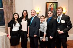 Students with NU's President Aoun at the reception held at his home