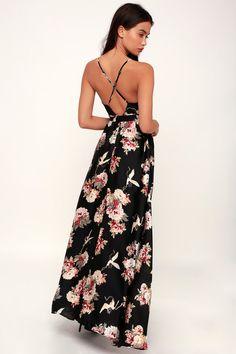 2d81997ae987 Save Me a Dance Black Print Satin Maxi Dress