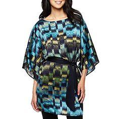Liz Claiborne Kimono-Sleeve Belted Tunic - jcpenney