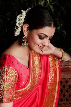 kajal aggarwal pink and beige colour South Indian Actress Hot, Most Beautiful Indian Actress, Fancy Sarees, Party Wear Sarees, Kajal Agarwal Saree, Saree Hairstyles, Saree Blouse Neck Designs, Blouse Designs, Indian Gowns Dresses