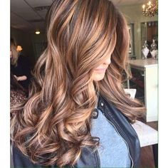 dark brown hair with caramel highlights ❤ liked on Polyvore featuring beauty products, haircare and hair styling tools