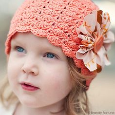 Little Sister hat designed by Linda Permann, crocheted in Cascade Yarns Ultra Pima. Available in sizes baby to adult. Free Pattern!