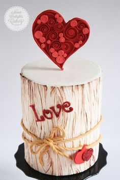 "Quilled ""With Love"" Valentine Cake - For all your cake decorating supplies, please visit craftcompany.co.uk"