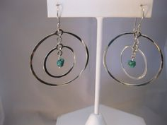 Artisan Sterling Silver Hammered Hoops with by The Silver Garden