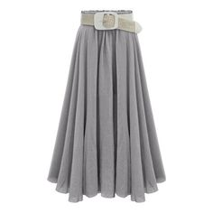Grey Polyester Long/Full Length Pleated Street Plain YES Fabric has no stretch Skirts, Size Available: one-size Length(cm): 84cm Style: Street.
