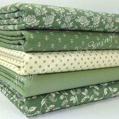 5 FAT QUARTER BUNDLE Fern greens 100 % cotton fabric