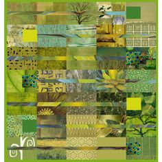 green collage quilt