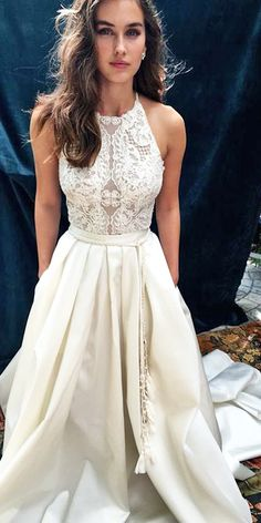 24 Romantic Bridal Gowns Perfect For Any Love Story ❤ vintage a line lace top romantic bridal gowns lihi hod ❤ Full gallery: https://weddingdressesguide.com/romantic-bridal-gowns/ #bride #wedding #bridalgown
