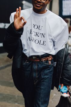 I don't know who this man is, but I think I love him. Also: his phone case. Is this the same guy with the platform rust-colored boots?! Prolly. The Best Street Style From London's Fall 2017 Men's Shows