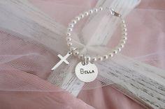 Baptism Bracelet - Baby Christening Bracelet - Baby Christening Pearl Bracelet - Personalized Baptism Bracelet - Godmother Gift. $35.00, via Etsy.