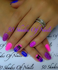 Bio Sculpture Gel | nails | summer | nail art | pink | purple | blue | ombré nails | Palm tree | holidays | hawaii
