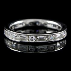 14K Solid White Gold Baguette & Round Cut 2ct Eternity Band Ring + Blue Diamond #EternityBand