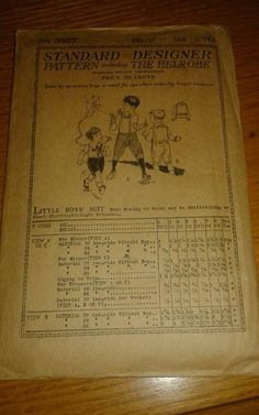 ANTIQUE 1919 BELROBE METHOD SEWING PATTERN 3937 LITTLE BOYS SUIT VERY RARE!!