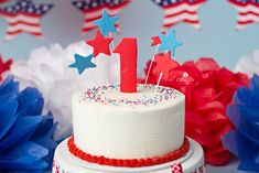 Independence Day first birthday smash cake