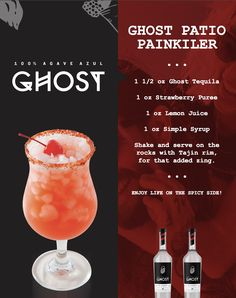 Ghost Patio Painkiller: Fresh Strawberries, Lemon juice, Simple and Ghost Tequila Party Drinks, Cocktail Drinks, Fun Drinks, Yummy Drinks, Cocktail Recipes, Beverages, Tequila Mixed Drinks, Liquor Drinks, Tequila Tequila