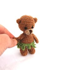 $23.86 #Bear #with #leaf-skirt, #crochet #tiny #bear, #teddy bear #figurine, #small #gift #for #girls, #miniature #teddy, #artist #teddybear Leaf Skirt, Teddybear, Miniature Dolls, Gifts For Girls, Small Gifts, Cyber, My Etsy Shop, Handmade Items, Shops