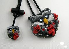Midnight Owl, Original polymer clay owls  by ClayCatShop™