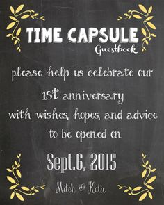 Wedding guestbook time capsule