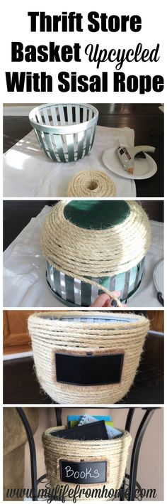 Transform a Thrift Store Basket into a Sisal Rope Basket with Rope and a Glue Gun | My Life From Home | www.mylifefromhome.com