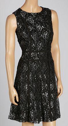 Black & Silver Lace Sleeveless Dress