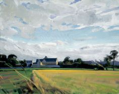 """Church and Field, Normandy  16""""x20""""  acrylic"""