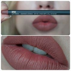 MAC Spice. Kylie Jenners favorite lip liner she uses on her entire lips (and Honeylove lipstick to go along with it if you want).