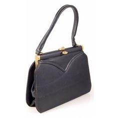 Handbags:Vintage 1950s Blue Bagcraft Vinyl Kelly Style Handbag