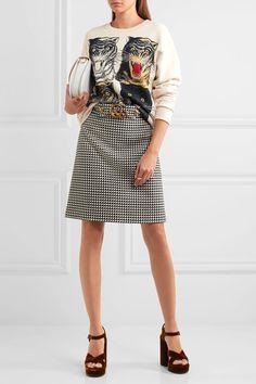 Gucci | Minirock aus einer Wollmischung mit Hahnentrittmuster | NET-A-PORTER.COM