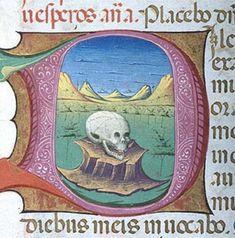 Skull Book of Hours Italy, probably Milan, The Morgan Library Morgan Library, Book Of Hours, Renaissance, Milan, Medieval, Illuminated Manuscript, Illustration, Books, Skull