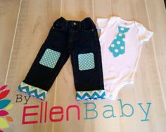 1st  Baby boy Easter, first 2nd birthday Tie T-shirt & Knee Patch Jean Pants, circus outfit, 12 month, 18 month, 2T, 3T, Cars, blues clues,