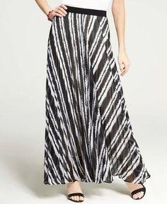Tall Chalk Stripe Pleated Maxi Skirt Ann Taylor
