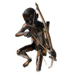 Bushman with bow and arrow Steel Sculpture, Metal Sculptures, Welding Machine, Light Oak, Arrow, Welding Set, Arrows