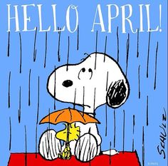Hello April - Snoopy Sitting on Top of His Doghouse in the Rain With Woodstock Sitting Between His Legs Holding an Umbrella Good Morning Facebook, For Facebook, Peanuts Characters, Cartoon Characters, Fictional Characters, Snoopy Love, Snoopy And Woodstock, Peanuts Cartoon, Peanuts Snoopy