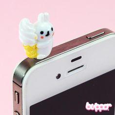 Ice Cream Bunny earphone jack charm