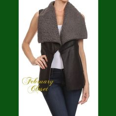 Shearling Lined Vest Make a statement wearing this sleeveless vegan leather, shearling lined vest with an open front and exposed seam detail. This is perfect for any casual outfit. Black. New direct from Vendor. February Closet Jackets & Coats Vests