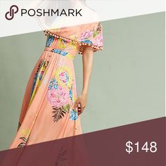 """🔮Anthropologie Farm Rio Maxi Dress New Farm Rio Pom Pom Off-The-Shoulder Maxi Dress. Rayon. Off-the-shoulder, maxi silhouette. Pommed detail. Pullover styling. Hand wash.  Falls 47"""" from shoulder. Anthropologie Dresses Maxi"""