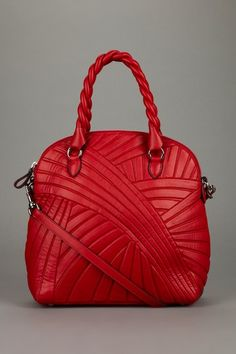 ~~Valentino striped leather satchel in red~~