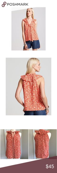 """Marc by Marc Jacobs """"Ando Flower"""" top Orange-red with cream floral print. V-neck with tie front. Sleeveless with shoulder and upper back ruffle. Size M. 65% cotton, 35% silk. Measurements available upon request. Excellent used condition. Marc by Marc Jacobs Tops Blouses"""