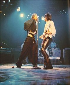 The Rolling Stones: Mick Jagger and Keith Richards on stage.