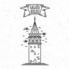 Galata Kulesi 2014 İstanbul #istanbul #art #galata #taksim #tower #logo… Icon Design, Logo Design, Graphic Design, Color Poem, Building Illustration, Stage Design, Pictures To Draw, Logo Nasa, Istanbul