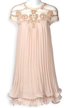 Apricot Short Sleeve Lace Pleated Chiffon Dress US$37.89