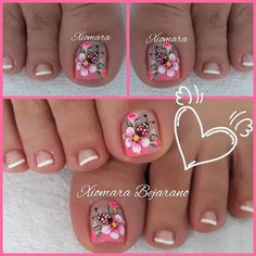 Pretty Toe Nails, Cute Toe Nails, Great Nails, Fabulous Nails, Pedicure Designs, Pedicure Nail Art, Toe Nail Designs, Gold Nails, Pink Nails