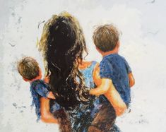 Mother And Son Discover Mother Two Sons Art Print two boys two brothers mother carrying two sons blue boys room wall art brunette mom and sons Vickie Wade Art Mom Son, Mother And Child, Desenho Tattoo, Boy Art, Sons, Fine Art Prints, Watercolor, Drawings, Illustration